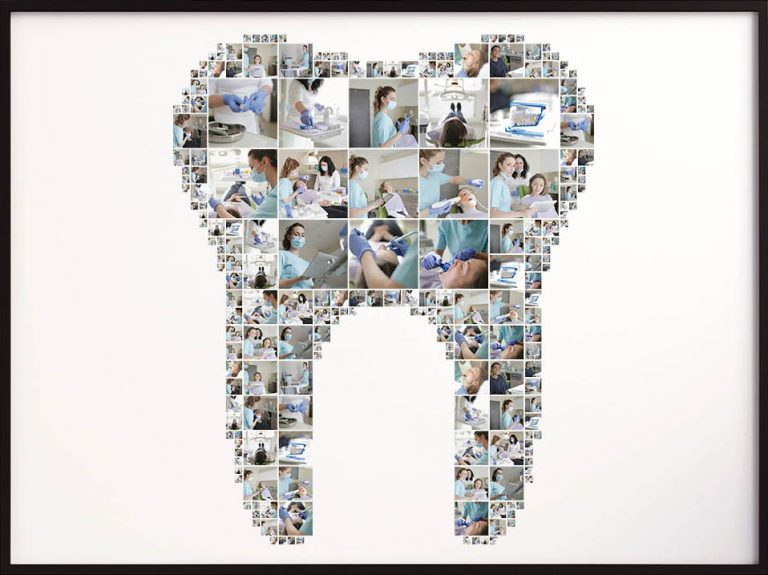 Dentist collage in shape of a tooth