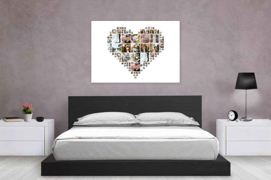 displaying wedding photos in bedroom