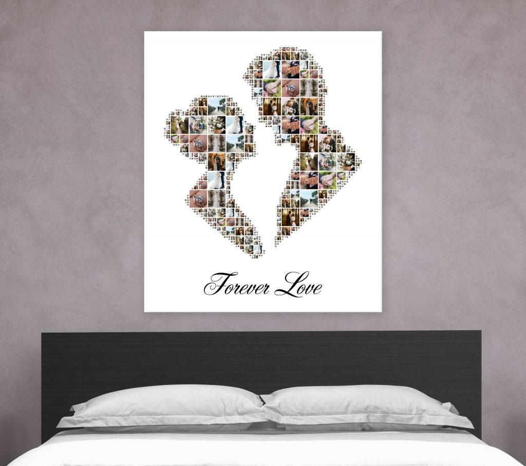 Displaying wedding photos as shape collage