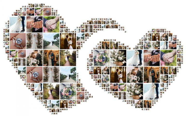 Heart shaped collage for displaying wedding photos