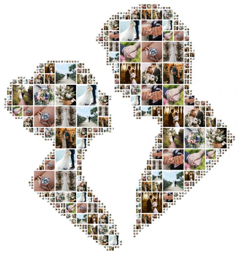 Idea for displaying wedding photos as shape collage