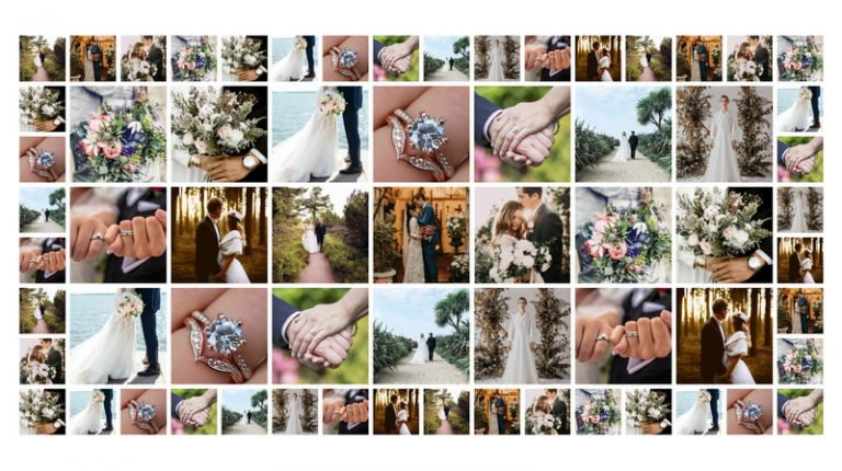 Photo collage for displaying wedding photos