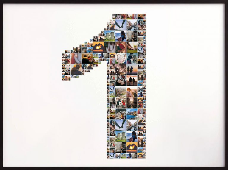 Photo collage with the shape of number one